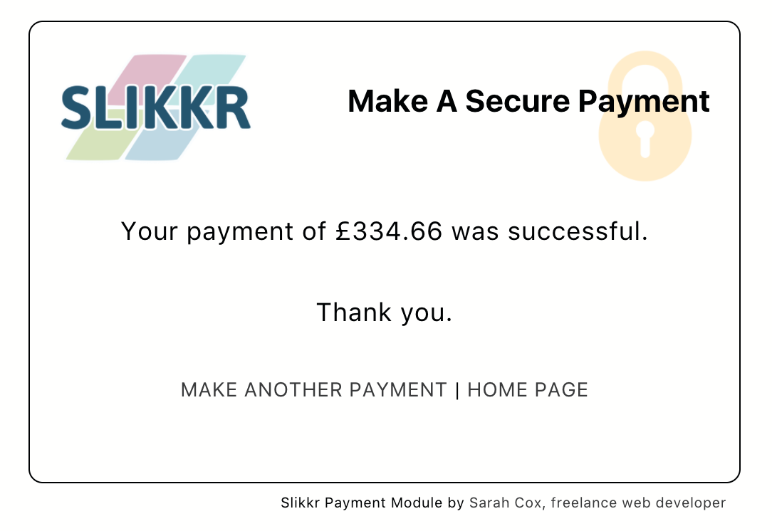 "Slikkr Stripe Payments - say ""thank you"" and send a receipt"